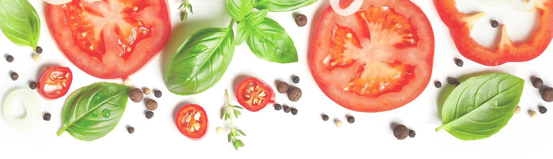 tomato slices & basil