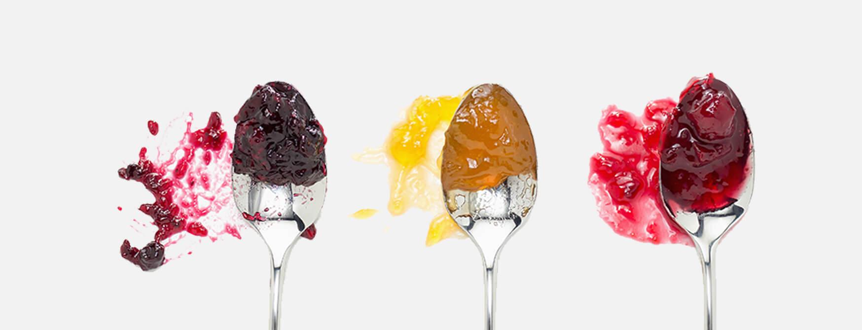 jellies on spoons