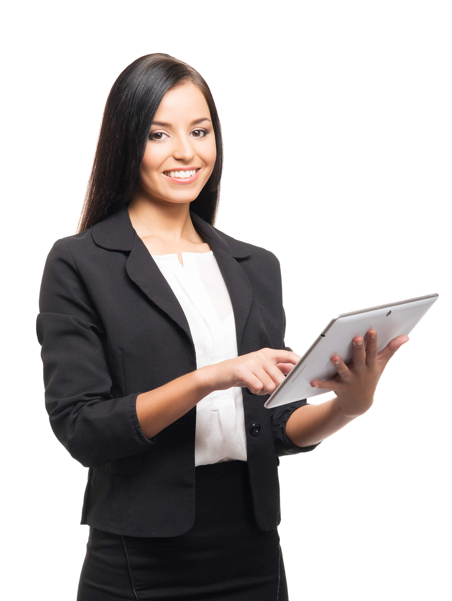 business person smiling holding tablet