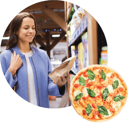 pizza in front of grocery shopper