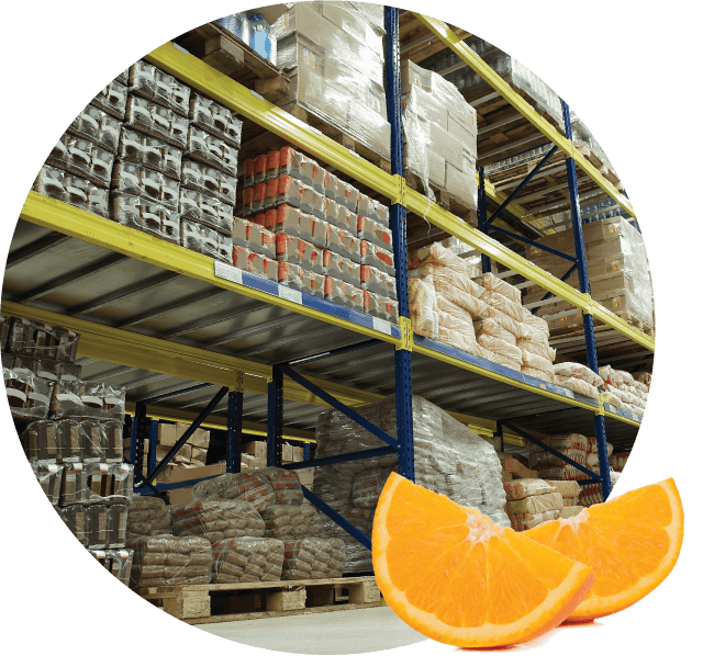 orange slices over warehouse storage