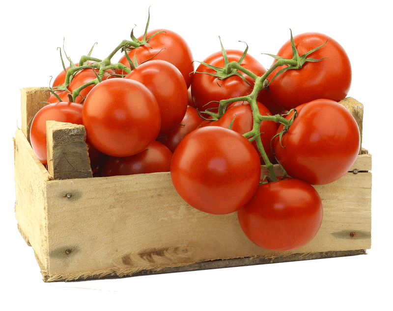 red tomatoes in a wood crate