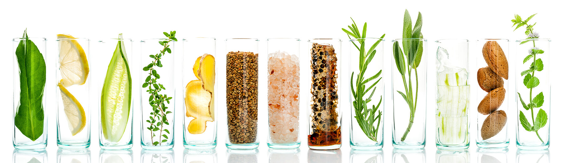 various ingredients in clear glasses