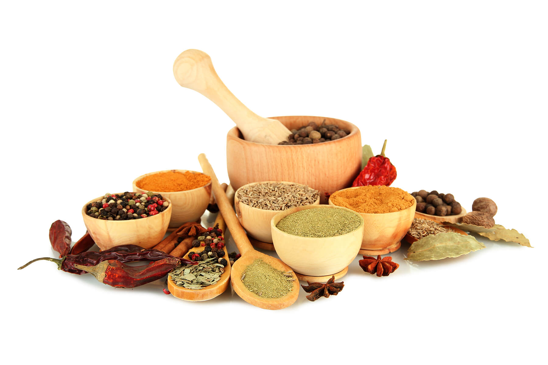 wooden-mortar-bowls-spoons-spices-isolated