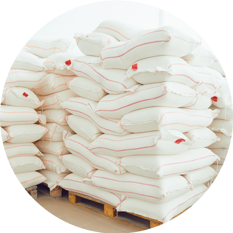 pallet of white bags